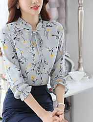 cheap -Women's Daily Casual Blouse,Solid Round Neck Long Sleeve Cotton Acrylic