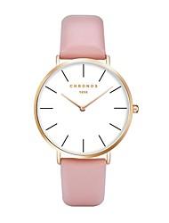 baratos -Homens Mulheres Quartzo Relógio de Pulso Japanês Relógio Casual Couro Banda Casual Fashion Preta Vermelho Cinza Rosa Cáqui