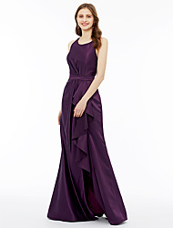 cheap -A-Line Princess Jewel Neck Floor Length Satin Bridesmaid Dress with Sash / Ribbon Pleats Split Front Side Draping by LAN TING BRIDE®