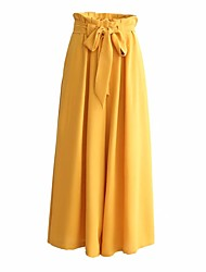 cheap -Women's Vintage Sophisticated Wide Leg Pants - Solid Colored