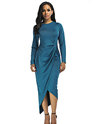 cheap -Women's Going out Bodycon / Sheath Dress - Solid Color Blue, Peplum / Split High Waist Asymmetrical