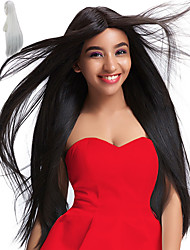 cheap -Synthetic Wig Straight Synthetic Hair Natural Hairline / Middle Part / African American Wig Black / White Wig Women's Long / Very Long Capless