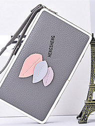 cheap -Women's Bags PU Wallet Appliques for Casual All Seasons Blue Blushing Pink Gray