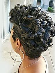 Недорогие -Человеческие волосы без парики Натуральные волосы Мелкие кудри Афро Парик в афро-американском стиле Короткие Машинное плетение Парик Жен.