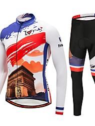 cheap -CYCOBYCO Cycling Jersey with Tights Men's Long Sleeves Bike Pants / Trousers Jersey Tights Top Clothing Suits Bike Wear Reflective Strip
