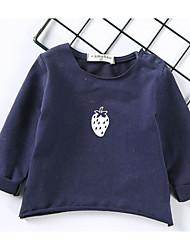 baratos -bebê Para Meninas Camiseta Pintura Algodão Manga Longa Comum Branco Rosa Azul Marinha Cinzento Amarelo