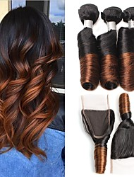 cheap -Guanyuwigs® 8A Peruvian Virgin Ombre Hair Bouncy Curls Hair Weave One Lace Closure 4*4 with 3 Bundles