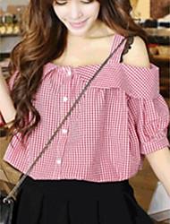 cheap -Women's Daily Cute Spring Blouse,Striped Bateau Short Sleeve Cotton