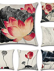 cheap -6 pcs Cotton / Linen Pillow Cover, Floral / Bohemian Style / Retro