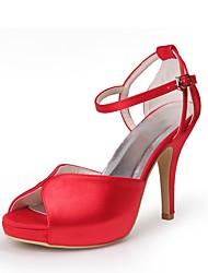 preiswerte -Damen Schuhe Seide Frühling Sommer Pumps Hochzeit Schuhe Stöckelabsatz Peep Toe Schnalle für Hochzeit Party & Festivität Rot