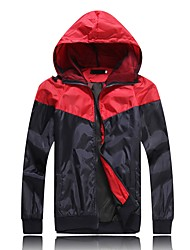cheap -Men's Daily Sports & Outdoors Spring Fall Regular Jacket, Multi Color Hooded Polyester