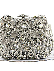 cheap -Women's Bags PU / Metal Evening Bag Crystals / Flower / Pocket Silver / Black / White