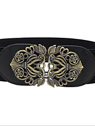 cheap -Women's Vintage Leather Alloy Wide Belt