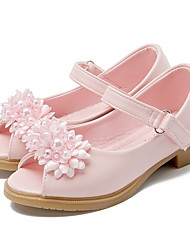 cheap -Girls' Shoes Leatherette Summer / Fall Flower Girl Shoes / Tiny Heels for Teens Sandals Flower / Magic Tape for White / Pink / Peep Toe