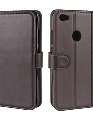 Недорогие -Кейс для Назначение Xiaomi Redmi Примечание 5A Бумажник для карт Кошелек со стендом Флип Магнитный Чехол Сплошной цвет Твердый Настоящая