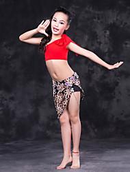abordables -Danza del Vientre Accesorios Rendimiento Fibra de Leche Diseño / Estampado Sin Mangas Cintura Baja Faldas Top