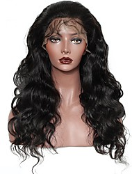 cheap -Human Hair Lace Front Wig Malaysian Hair Kinky Curly Body Wave With Baby Hair 250% Density Natural Hairline Medium Long Women's Human