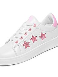 preiswerte -Damen Schuhe Gummi Frühling Herbst Komfort Sneakers Flacher Absatz Runde Zehe für Draussen Schwarz Silber Rosa