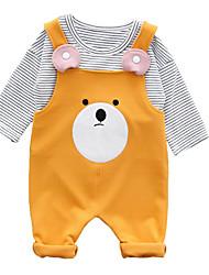 tanie Modna odzież dziecięca-Dziecko Komplet odzieży Bawełna Dla obu płci Codzienny Prążki Wiosna Długi rękaw Prosty Brown Blushing Pink Yellow