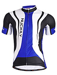 cheap -Nuckily Men's Short Sleeve Cycling Jersey - Blue Geometic Bike Jersey, Quick Dry, Anatomic Design, Breathable Polyester