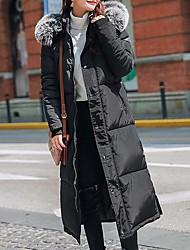 economico -Per donna Essenziale Lungo Imbottito - Colletto di pelliccia, Tinta unita Con cappuccio