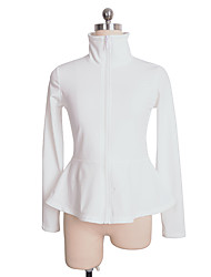 cheap -Figure Skating Fleece Jacket Women's Girls' Ice Skating Top White Spandex Stretchy Performance Practise Skating Wear Solid Long Sleeves