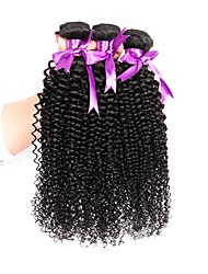 cheap -Brazilian Hair Kinky Curly Natural Color Hair Weaves 3 Bundles 8-28inch Human Hair Weaves 8a Natural Black Women's