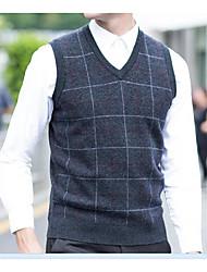 economico -Standard Pullover Da uomo-Quotidiano Casual Con stampe A V Senza maniche Cashmere Inverno Autunno Spesso Media elasticità