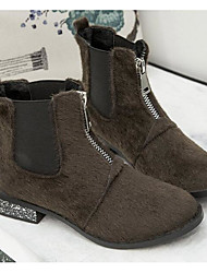 cheap -Shoes Flocking Winter Fall Comfort Bootie Boots Chunky Heel Booties/Ankle Boots for Casual Black Khaki