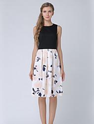 cheap -SHE IN SUN Women's Work A Line Dress Hole Print