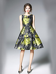 preiswerte -Damen Arbeit A-Linie Swing Kleid - Druck V-Ausschnitt