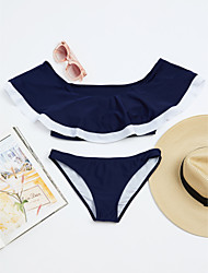 abordables -Femme Licou Bikinis Couleur Pleine Bleu & blanc
