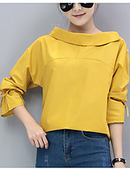 cheap -Women's Cotton Loose Shirt - Solid, Modern Style