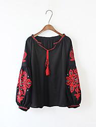 cheap -Women's Casual/Daily Boho Spring/Fall T-shirt,Print V Neck Long Sleeves Cotton Medium