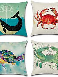 cheap -4 pcs Cotton/Linen Pillow Cover, Animal Print Bohemian Style Retro