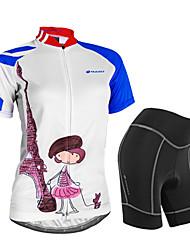 baratos -Nuckily Mulheres Manga Curta Camisa com Shorts para Ciclismo - Branco Floral / Botânico Geométrico Moto Shorts Camisa/Roupas Para Esporte