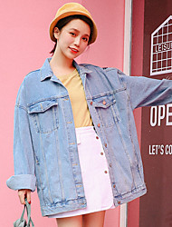 cheap -Women's Vintage Denim Jacket - Solid, Pleated