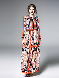 baratos -Mulheres Diário Para Noite Casual Moda de Rua balanço Longo Médio Vestido Floral Colarinho de Camisa Manga Longa Primavera