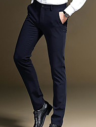 cheap -Men's Slim Business Pants - Solid Colored