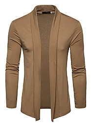 cheap -Men's Daily Going out Casual Chinoiserie Regular Cardigan,Solid Cowl Neck Long Sleeve Polyester Spring Fall Opaque strenchy