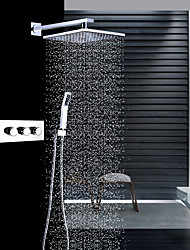 cheap -Contemporary Wall Mounted Rain Shower Handshower Included Thermostatic Ceramic Valve Three Handles Three Holes Chrome, Shower Faucet