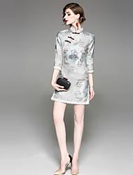 cheap -EWUS Women's Chinoiserie Shift Sheath Dress - Jacquard Stand