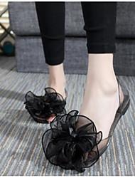 preiswerte -Damen Schuhe PVC Sommer Komfort Sandalen Flacher Absatz Offene Spitze für Draussen Schwarz Blau Rosa