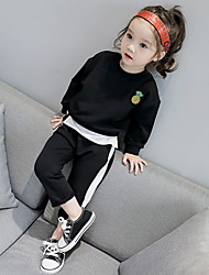 cheap -Girls' Daily Holiday Solid Print Clothing Set,Cotton Spring Fall Long Sleeve Active Light gray Black