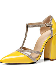 preiswerte -Schuhe Kunstleder Frühling Sommer Neuheit Pumps High Heels Blockabsatz Spitze Zehe für Hochzeit Party & Festivität Schwarz Silber Gelb