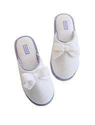 cheap -Women's Shoes Fabric Winter Fall Comfort Slippers & Flip-Flops Flat Heel Round Toe Bowknot for Casual White