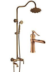 abordables -Antique Set de centre Douchette inclue Soupape céramique Mitigeur deux trous Cuivre antique, Robinet lavabo