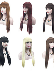 cheap -Synthetic Wig Straight With Bangs Synthetic Hair Natural Hairline Red / Black / Blonde Wig Women's Capless