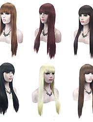 abordables -Perruque Synthétique Droit Avec Frange Cheveux Synthétiques Ligne de Cheveux Naturelle Rouge / Noir / Blond Perruque Femme Sans bonnet
