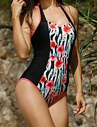 Dámské Jednodílné Plavky Sexy Cikánský Polyester,Lodičkový Černá